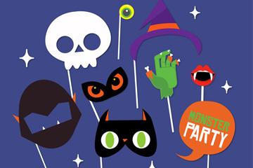 9款扁平化怪物派对面具矢量素材