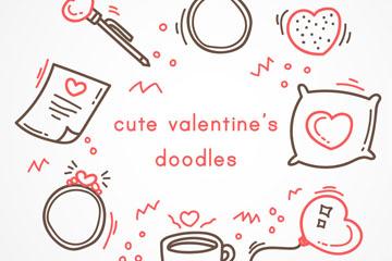 8款可爱情人节元素涂鸦矢量图