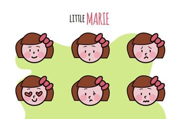 9款可爱女孩表情头像矢量素材