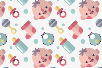扁平化婴儿头像和用品无缝背景乐虎国际线上娱乐图