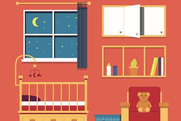 夜晚的婴儿房设计矢量素材