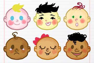 6款彩色婴儿头像矢量素材