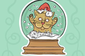 彩绘圣诞猫雪花玻璃球乐虎国际线上娱乐图