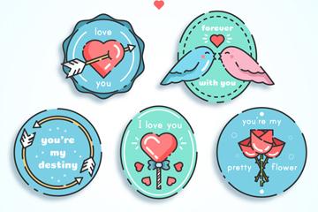 5款甜蜜爱的徽章矢量素材