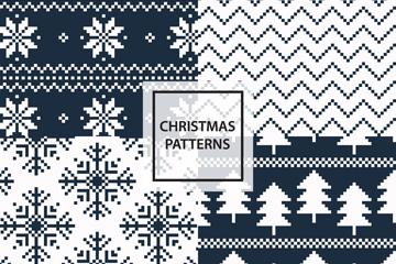 4款深蓝圣诞花纹无缝背景乐虎国际线上娱乐图
