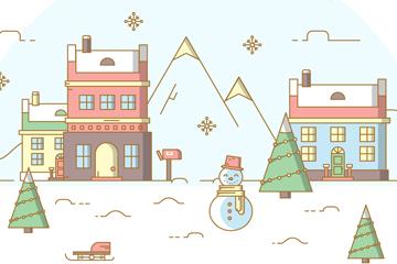 可爱圣诞小镇矢量素材