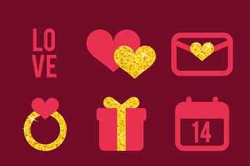 9款创意金粉装饰情人节元素矢量