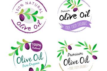4款水彩绘橄榄油标签矢量素材