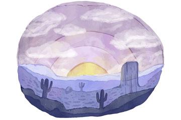 水彩绘沙漠日出风景矢量素材