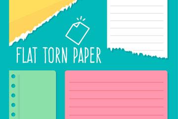 4款彩色扁平化撕边纸张乐虎国际线上娱乐图