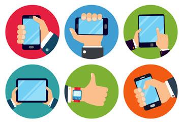9款创意使用电子产品的手臂矢量