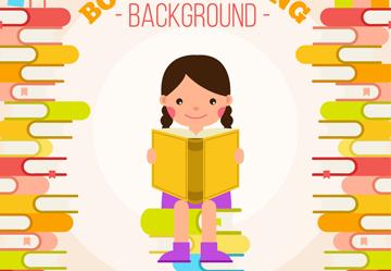 卡通坐在书堆上读书的女孩矢量素