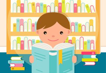 创意图书室阅读的男孩矢量素材