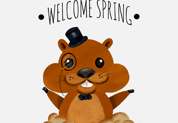 可爱迎接春天的土拨鼠矢量素材