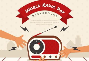 创意收音机世界广播日贺卡矢量图