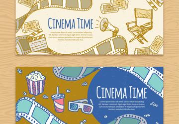 2款彩绘电影院元素banner乐虎国际线上娱乐乐虎国际