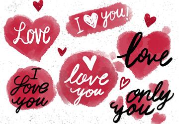 6款彩绘爱的艺术字矢量素材