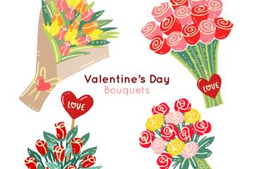 4款水彩绘情人节花束矢量图