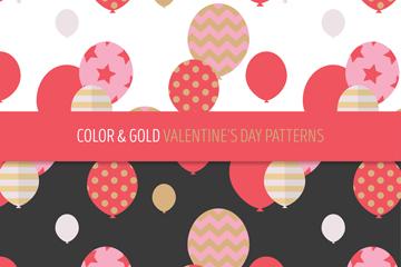 2款彩色和金色花纹气球无缝背景乐虎国际线上娱乐图