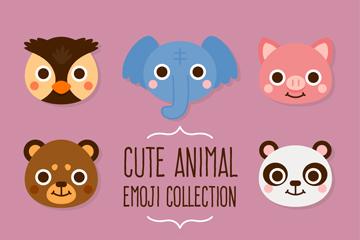 8款可爱动物头像设计矢量图