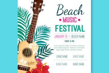 彩绘吉他沙滩音乐节宣传单矢量图