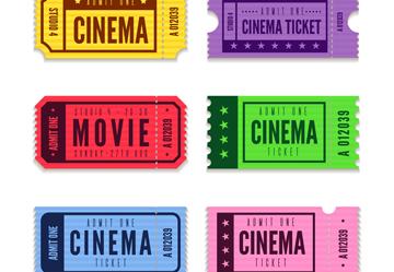 6款彩色电影票设计矢量素材