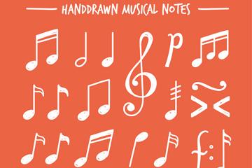 25款白色手绘音符设计矢量图