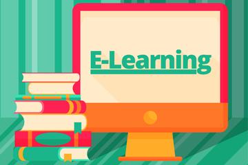 创意书籍和电脑网上学习插画矢量