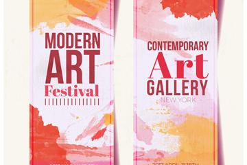 2款现代美术艺术展宣传banner矢量图