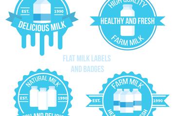 4款扁平化牛奶标签和徽章矢量图