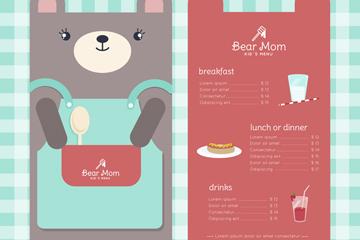 可爱熊妈妈儿童菜单矢量图