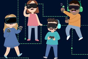 4款创意戴VR头显的人物矢量素材