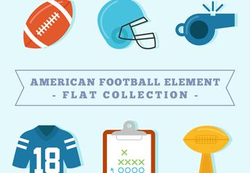 6款彩色美式足球元素矢量素材