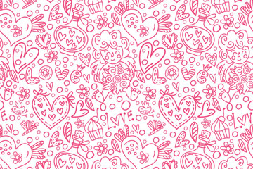 粉色爱心元素无缝背景矢量素材
