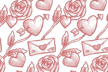 彩绘情书和玫瑰无缝背景矢量图