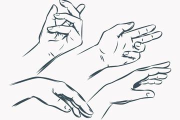4款手绘手部动作矢量素材