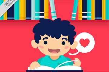可爱读书男孩矢量素材