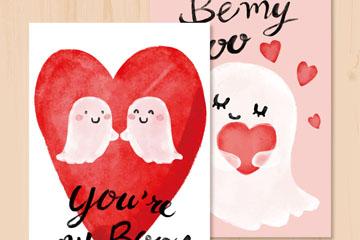 2款可爱幽灵情侣卡片矢量图