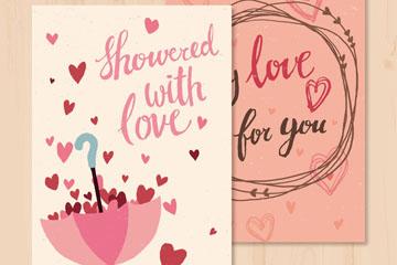 彩绘装满爱心的雨伞卡片矢量图