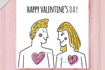 彩绘心和心连线的男女卡片矢量图