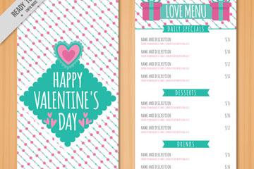 可爱情人节餐馆菜单矢量素材