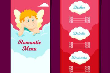 可爱丘比特餐馆菜单矢量素材