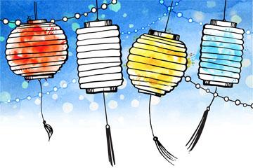 4个彩绘中秋节灯笼贺卡矢量图