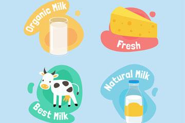 4款创意牛奶标签设计矢量图