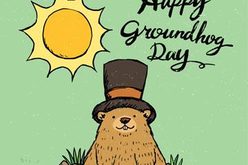 彩绘太阳下戴礼帽的土拨鼠矢量素