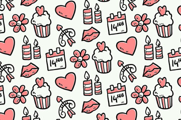 可爱粉色情人节元素无缝背景矢量图