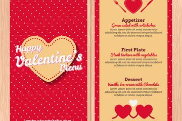 创意情人节爱心餐馆菜单矢量图