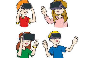4款彩绘戴VR头显的人物半身像矢量图