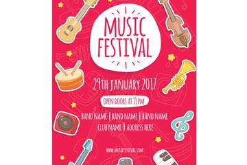 彩绘乐器音乐节宣传单矢量素材