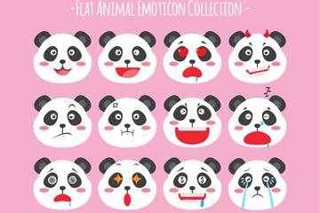 16款可爱熊猫表情头像矢量图